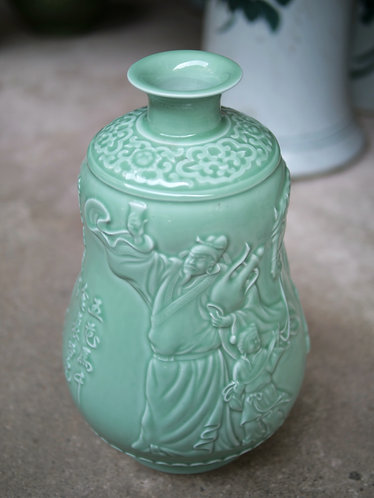 Celadon Vase with Horse and Chinese Characters