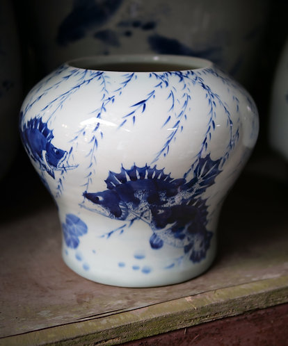 Blue and White Fish Vase