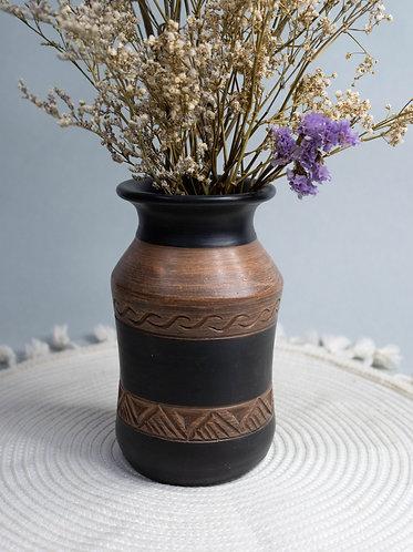 Black x Wood Textured Rustic Vase (Design 4)