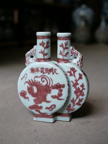 Red and White Series - Small Double Vase
