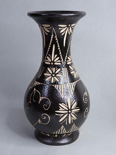 Black Handcarved Vase
