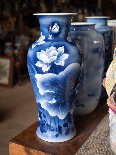Blue and White Lotus Vase