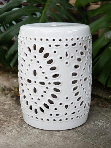 White Stool with Starburst Pattern