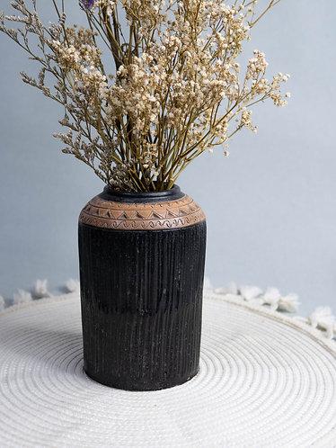Black x Wood Textured Rustic Vase (Design 7)