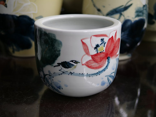 Handpainted Flowers and Bird Pot (Design 1)