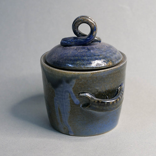 Dragon Kiln Fired Blue Jar with Lid (Design 3)