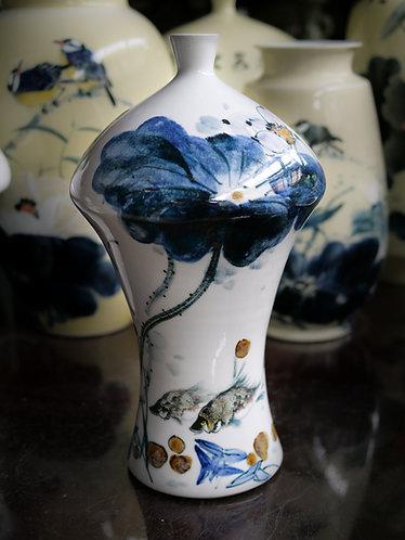 Handpainted Tall White Vase (Design 2)