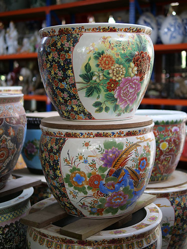 Floral Pot with Black Sides (2 Designs)