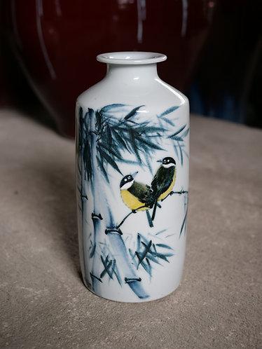 Handpainted White Bamboo and Bird Vase