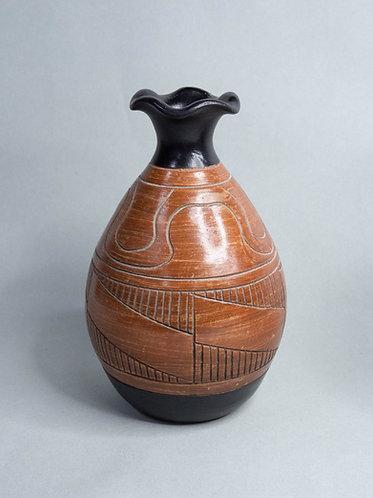 Black x Wood Textured Rustic Vase (Design 2)
