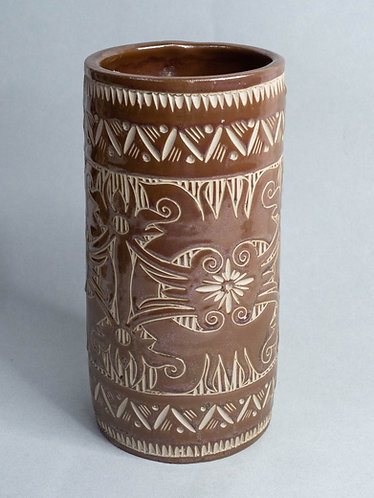 Brown Handcarved Vase