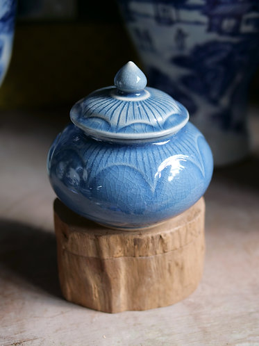 Small Blue Jar with Lid
