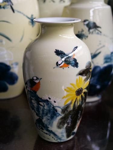 Handpainted Pale Yellow Vase (Sunflowers and Birds)