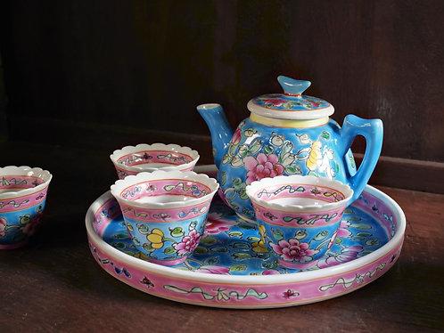Peranakan Full Peony Teapot Set