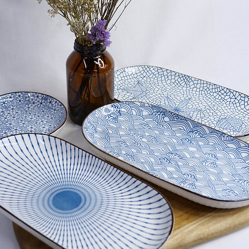 Blue and White Long Plates (4 Designs)