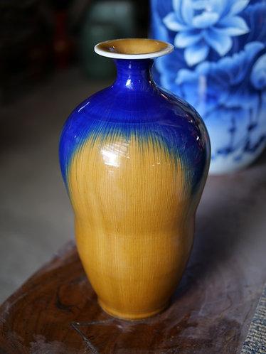 Mustard and Blue Running Glaze Vase