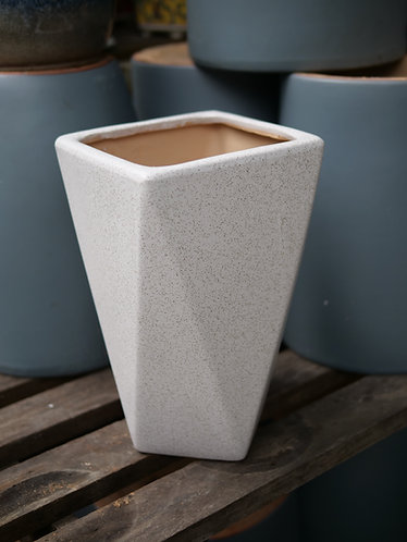 Speckled White Geometric Outdoor Pot (3 Sizes)