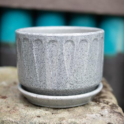 Stony Grey Pot with Bottom Plate (2 Designs, 3 Sizes)