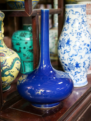 Thin-Necked Blue Vase