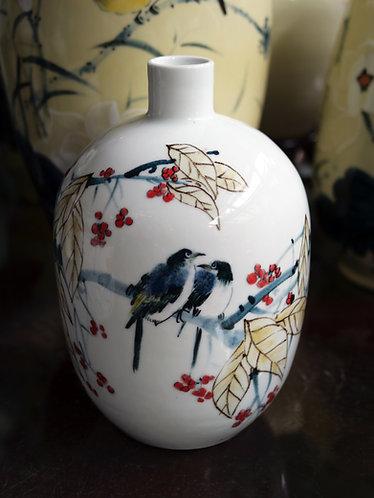 Handpainted White Birds Vase