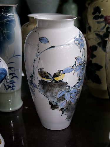 Handpainted White Vase with Birds and Flowers