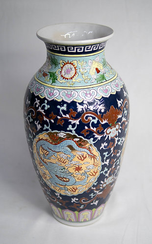 Twin Dragons Vase in Blue and Gold (Design 2)