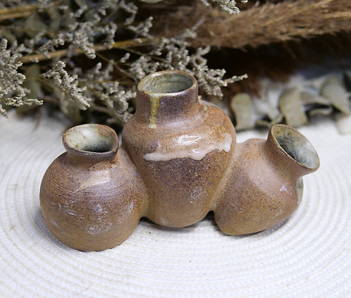 Dragon Kiln Fired Triple Conjoined Vases