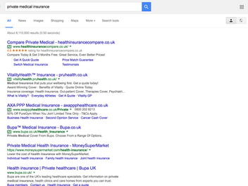 Private medical insurance - is Google the best place to start?