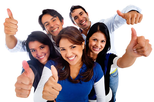 Happy group of friends with thumbs up -