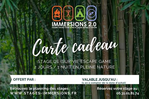 Carte Cadeau Stage ESCAPE / 2 JOURS / 1 NUIT