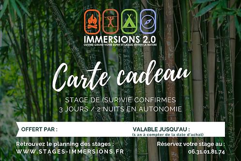 Carte Cadeau Stage CONFIRMES 3 JOURS / 2 NUITS