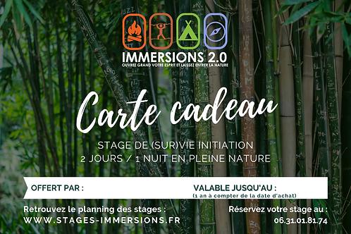 Carte Cadeau Stage INITIATION / 2 JOURS / 1 NUIT