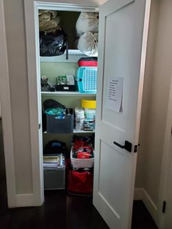 """Entryway closet set up as a """"Grab and Go"""" closet"""