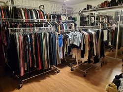 After closet room with sorting/removal of 4 racks of clothing