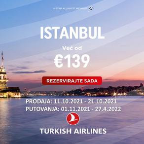 AKCIJA Turkish Airlinesa! Letovi za Istanbul od 139 eura!