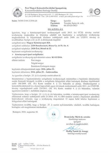 Magyar Kéményseprő Kft engedélye