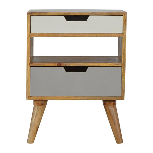 Hand Crafted Grey and White Cutout Bedside Table with Two Drawers