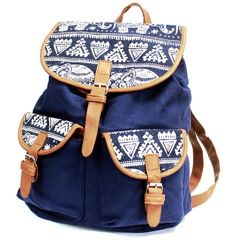 Traveller Backpacks - 2 Pocket Blue Elephant