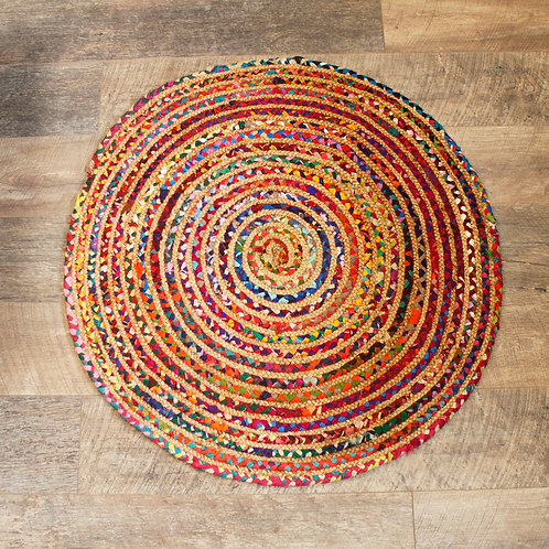 Round Jute and Recycled Cotton Rug - 90 cm