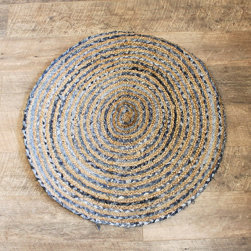 Round Jute and Recycle Denim Rug- 90 cm