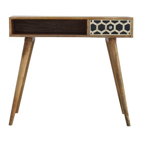 Handmade Nordic Writing Desk. Single Drawer with Bone Inlay Design
