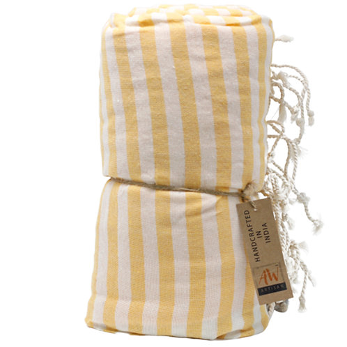 Cotton Pareo Towel - 100x180 cm - Sunny Yellow