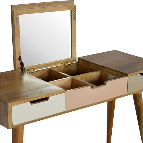 Hand Crafted Dressing Table with Foldable Mirror and Storage Compartments