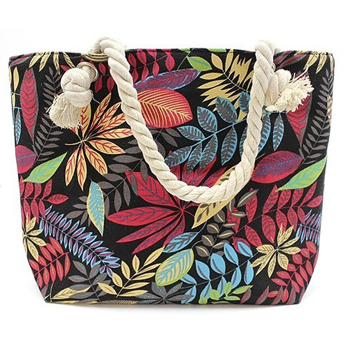 Rope Handle Bag - Red And Blue Flowers