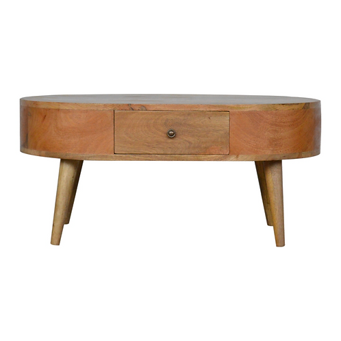 Hand Crafted Solid Mango Wood Coffee Table with Oak Finish