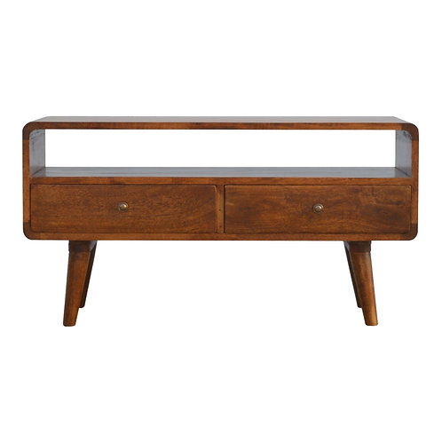 Curved Mid Century Solid Wood Media Unit with Drawers