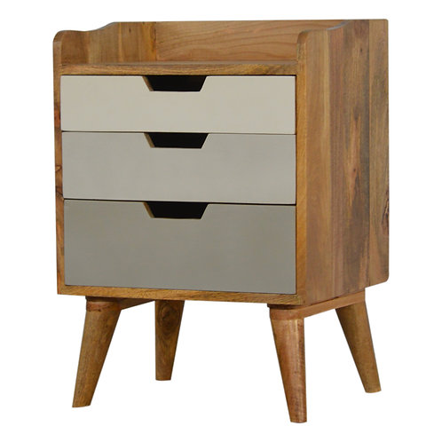 Solid Wood Gallery Back Bedside Table with Grey and White Gradient Drawers