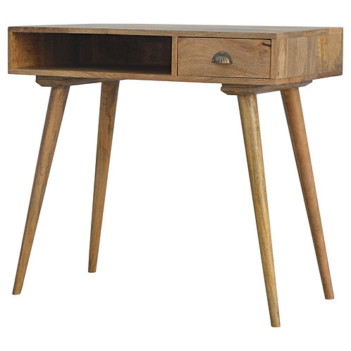Solid Wood Nordic Style Writing Desk with Open Slot Storage and Drawer