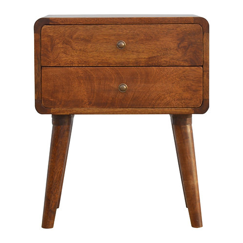 Curved Bedside Table in Chestnut Finish