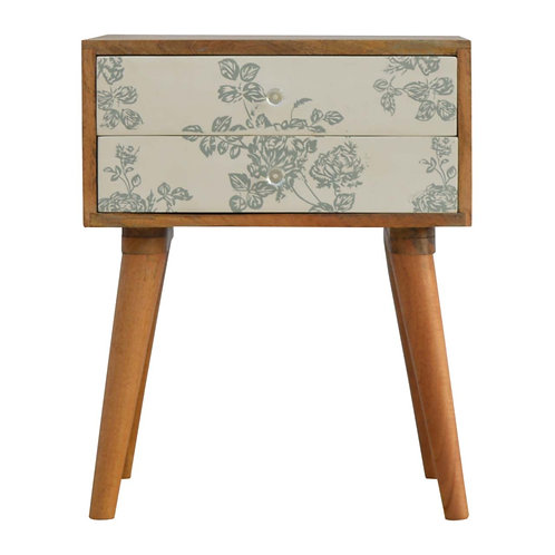 Handcrafted Floral Screen Printed 2 Drawer Bedside in Sage Green